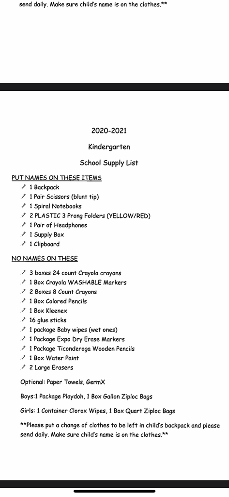 K Supply List 2020-2021