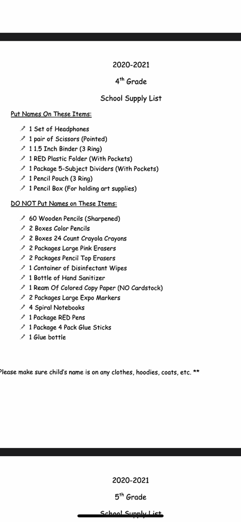 4th grade supply list 2020-2021