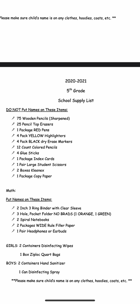 5th grade supply list 2020-2021